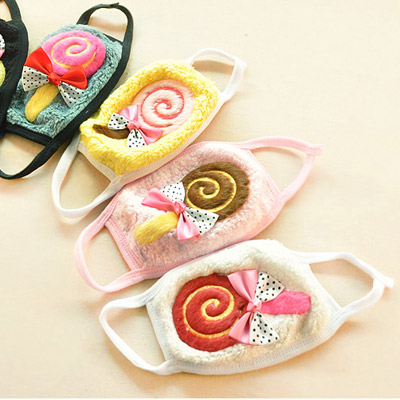 Creative Color Will Be Random Bowknot Decorated Lollipop Pattern Design Plush Face Mask