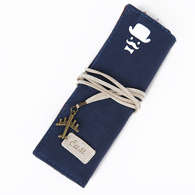 Graduation Blue Moustache Pattern Decorated Rectangular Design Canvas Pencil Case Paper Bags