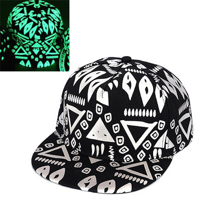 Jogging Black Geometrical Pattern Decorated Simple Design Canvas Baseball Caps