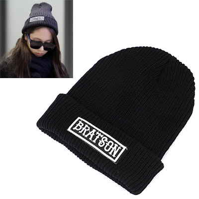 Retro Black Letter Bratson Decorated Simple Design Wool Knitting Wool Hats