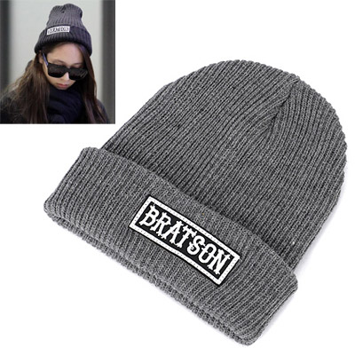 Specialty Gray Letter Bratson Decorated Simple Design Wool Knitting Wool Hats
