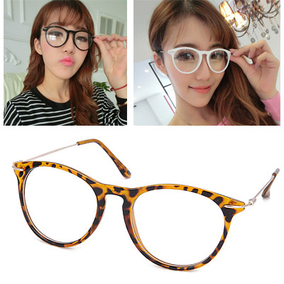 Fit Leopard Color Thin Legs Decorated Plain Design Resin Fashon Glasses