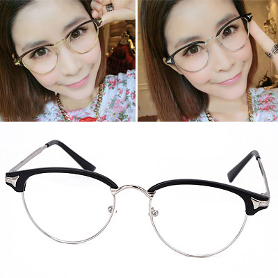 Trendy Matte Black Half Frame Simple Design Resin Fashon Glasses
