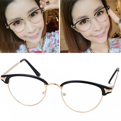 Harry Black Half Frame Simple Design Resin Fashon Glasses