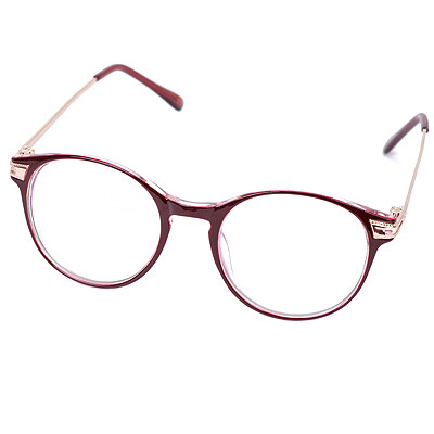 Varsity Brown Hollow Out Round Frame Design Resin Fashon Glasses