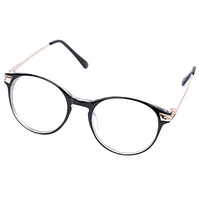 Charm Transparent Black Hollow Out Round Frame Design Resin Fashon Glasses