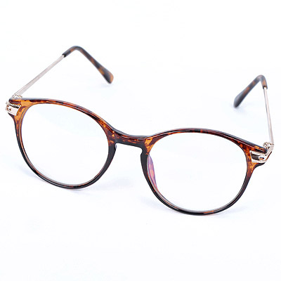 Outdoor Leopard Color Hollow Out Round Frame Design Resin Fashon Glasses