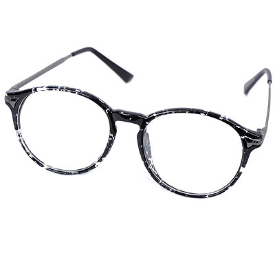 Lilac Black & White Round Frame Simple Design Resin Fashon Glasses
