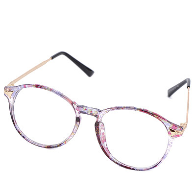 Caspari Transparent Purple Flower Pattern Frame Simple Design Resin Fashon Glasses