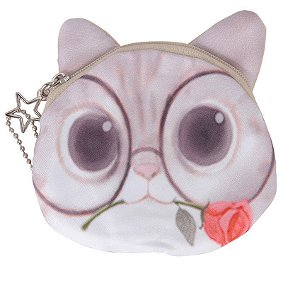 Circle White Cat Pattern Simple Design Nylon Wallet