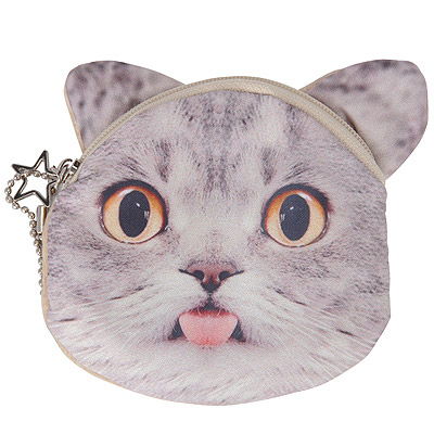 Stainless Gray & White Cat Pattern Decorated Star Shape Design Nylon Wallet