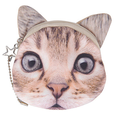 Costume Light Gray Cat Pattern Simple Design Nylon Wallet