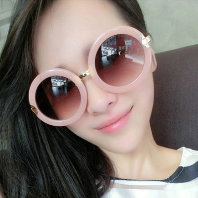 Velvet Pink Round Frame Simple Design Nylon Women Sunglasses