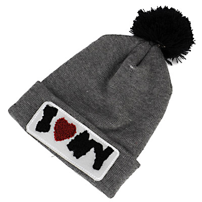 American Gray & Black Letter Iny Decorated Simple Design Wool Knitting Wool Hats
