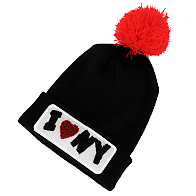 Classic Black & Red Letter Iny Decorated Simple Design Wool Knitting Wool Hats
