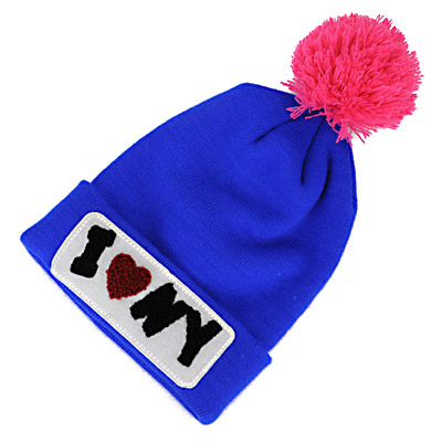 Classic Blue & Plum Red Letter Iny Decorated Simple Design Wool Knitting Wool Hats