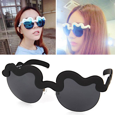 Elegant Black Half Frame Decorated Simple Design Alloy Women Sunglasses