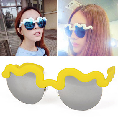Bespoke Orange Half Frame Decorated Simple Design Alloy Women Sunglasses