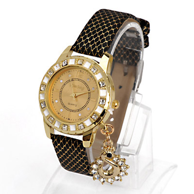 Diabetic Black Diamond Decorated Swan Shape Design Alloy Ladies Watches