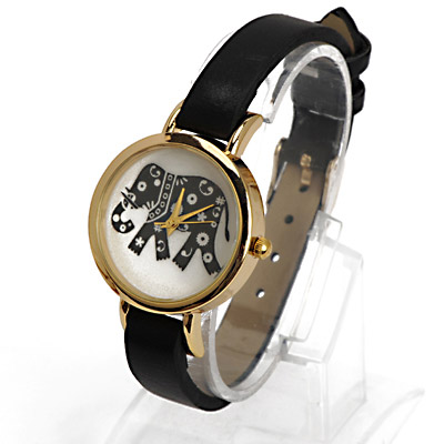 Winding Black Elephant Pattern Decorated Simple Design Alloy Ladies Watches