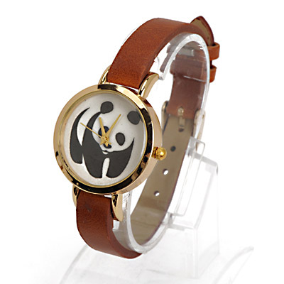 Noble Coffee Panda Pattern Decorated Simple Design Alloy Ladies Watches