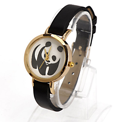 Christmas Black Panda Pattern Decorated Simple Design Alloy Ladies Watches