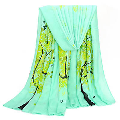Pregnancy Green Tree Pattern Decorated Simple Design Voile Thin Scaves