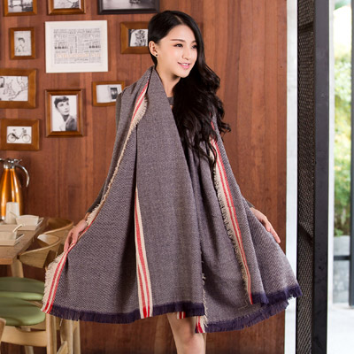 Apparel Blue Fine Twill Decorated Simple Design Woolen knitting Wool Scaves