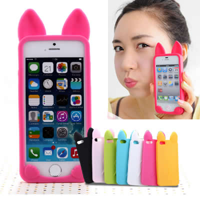 Vera Red Pure Color Cat Ears Shape Simple Design (iphone 5/5s) Silicone Iphone 5 5s