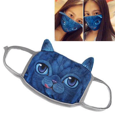 Real Blue Cat Pattern Decorated Simple Design Cotton Face