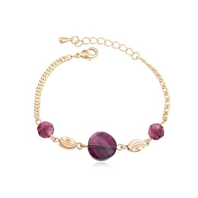 Misses Purple&18K Gold Simple Design Austrian Crystal Crystal Bracelets