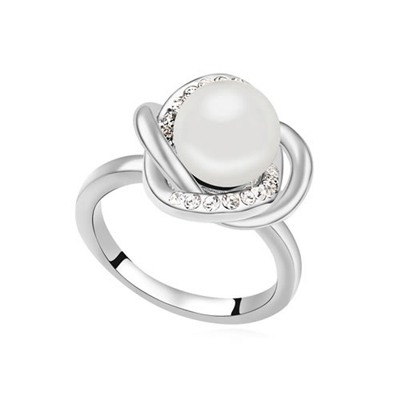 Brown White Simple Design Pearl Crystal Rings
