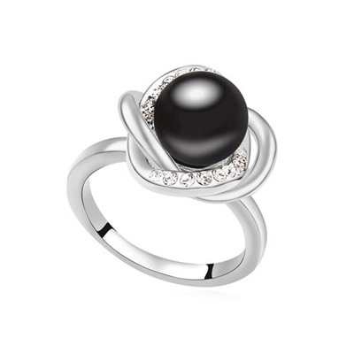 Hipster Black Simple Design Pearl Crystal Rings
