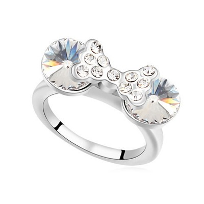 High White Diamond Decorated Bowknot Design Austrian Crystal Crystal Rings