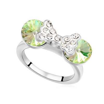 Mexican Luminous Green Diamond Decorated Bowknot Design Austrian Crystal Crystal Rings