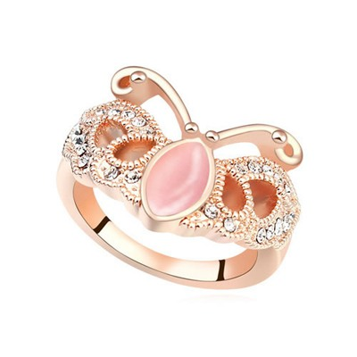 Oval Light Pink&Rose Gold Butterfly Shape Design Opal Crystal Rings