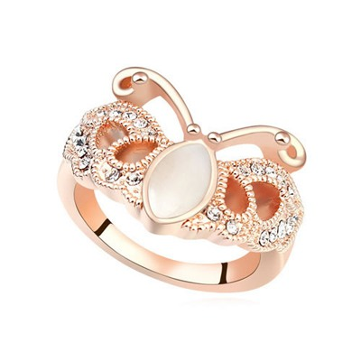 Daisy White&Rose Gold Butterfly Shape Design Opal Crystal Rings