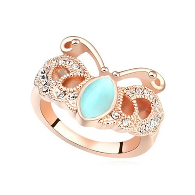 Current Lake Blue Butterfly Shape Design Opal Crystal Rings