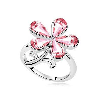 Timeless Light Plum Red Sparkly Flower Decorated Austrian Crystal Crystal Rings