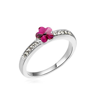 Concealed Purplish Red Small Flower Decorated Austrian Crystal Crystal Rings
