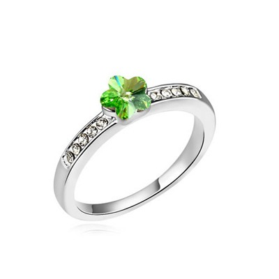 Electronic Olive Small Flower Decorated Austrian Crystal Crystal Rings