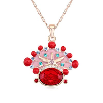 Coral Light Red&Champagne Gold Bride Crown Shape Pendant Design Austrian Crystal Crystal Necklaces