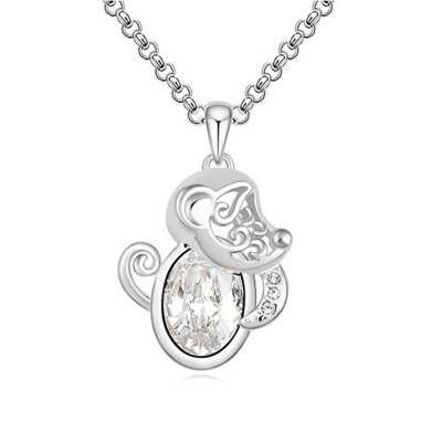 Fresh White Little Monkey Pendant Design Austrian Crystal Crystal Necklaces