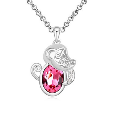 Turkish Plum Red Little Monkey Pendant Design Austrian Crystal Crystal Necklaces