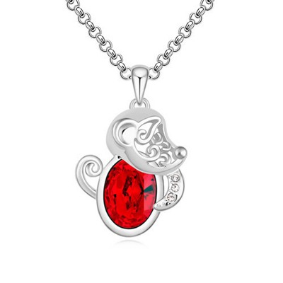 Oversized Light Red Little Monkey Pendant Design Austrian Crystal Crystal Necklaces