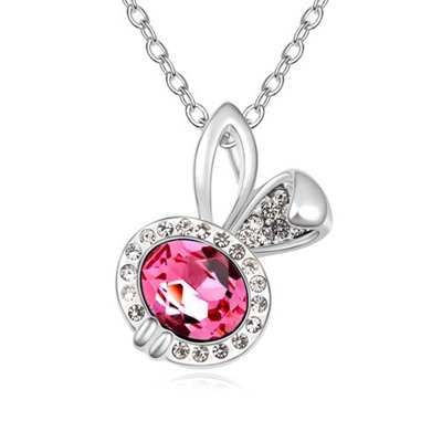 Baptism Plum Red Lovely Rabbit Pendant Design Austrian Crystal Crystal Necklaces