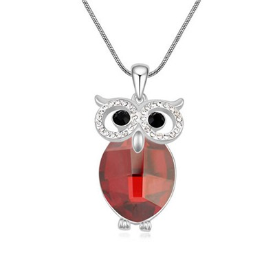Discount Red Owl Shape Design Austrian Crystal Crystal Necklaces