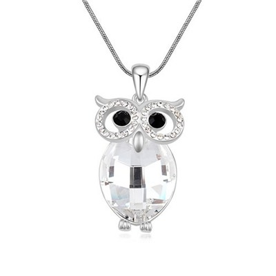 Cranes White Owl Shape Design Austrian Crystal Crystal Necklaces