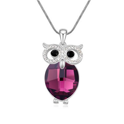 Kinetic Purple Owl Shape Design Austrian Crystal Crystal Necklaces