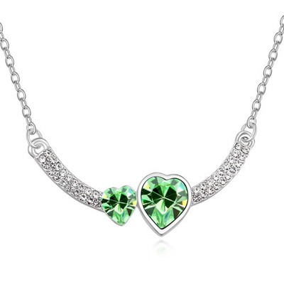 Genuine Olive Two Heart Shape Design Austrian Crystal Crystal Necklaces
